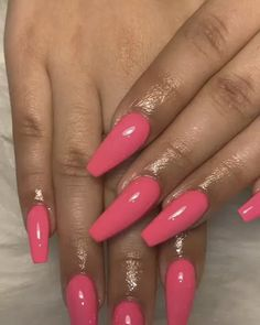 73 light pink nail designs and ideas to try 9 Related Bright Pink Nails, Matte Pink Nails, Red Acrylic Nails, Orange Nails, Light Pink Nail Designs, Cute Nail Designs, Acrylic Nail Designs, Perfect Nails, Gorgeous Nails