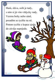 Zimní sporty, sportování, básnička Bowser, Worksheets, Kindergarten, Preschool, Education, Christmas Ornaments, Comics, Learning, Winter