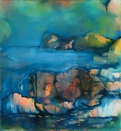 Beatrice Richter: Grotte. Tusche, Acryl auf Leinwand #abstrakt #Landschaft #neon #Malerei #beatricerichter #startyourart www.startyourart.de