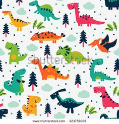 Adorable seamless pattern with funny dinosaurs in cartoon. Ideal for cards, invitations, party, banners, kindergarten, baby shower, preschool and children room decoration