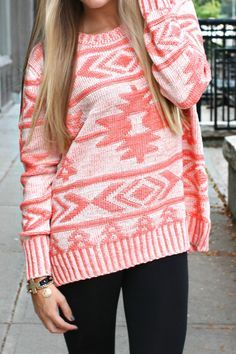 Pink Aztec Sweater. Looks perfect for a snowy day, paired with black leggings  uggs or riding boots