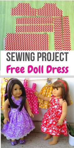 This is an easy AG doll dress sewing pattern that can be made as midi and maxi. This sewing project is so easy that you can make it even if you are a beginner. This is a halter neck doll dress sewing tutorial that is available for free. Sewing Doll Clothes, American Doll Clothes, Baby Doll Clothes, Sewing Dolls, Ag Dolls, Girl Dolls, Barbie Clothes, Barbie Doll, Dress Sewing Tutorials