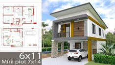 Small Home Design Plan with 3 Bedrooms. It's has 3 bedrooms.Simple Home Design Simple House Design, House Front Design, Modern House Design, Small Modern House Plans, Beautiful House Plans, House Plans Mansion, Family House Plans, Photo 3d, Two Storey House Plans