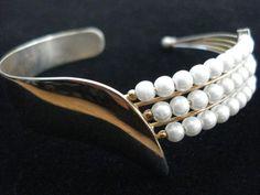 Vintage 1970s Cuff Bracelet Pearl Mod 2012 by bycinbyhand on Etsy, $14.00
