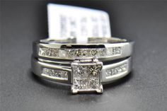 Diamond Bridal Set Princess Cut 10K White Gold Engagement Ring Wedding Band 1 Ct