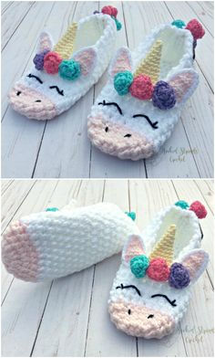 Everyone loves these Crochet Unicorn Slippers stuff Unicorn Crochet Slippers Gift Idea Crochet Gifts, Cute Crochet, Crochet For Kids, Knit Crochet, Crochet Summer, Easy Crochet, Knitted Slippers, Crochet Baby Booties, Crochet Slippers