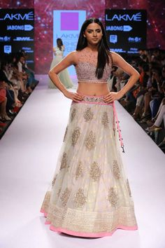 Anushree Reddy White Embroidered #Lehenga With Pink Embroidered #Blouse At Lakme Fashion Week 2015.