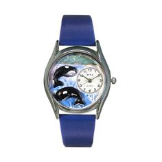 Whimsical Watches Whales Royal Blue Leather And Silvertone Watch