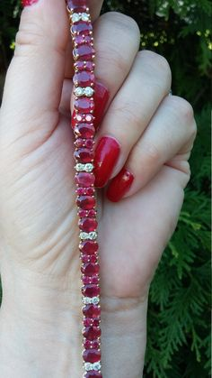 14k Gold 26.2ct Ruby Diamond Tennis Wrist by MADAMECKERSON on Etsy
