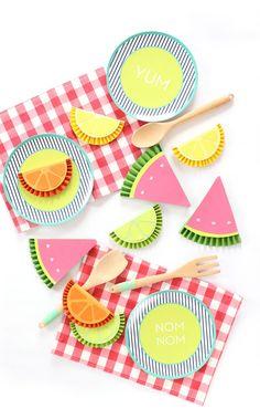 DIY Summer Fruity Paper Rosettes | damask love