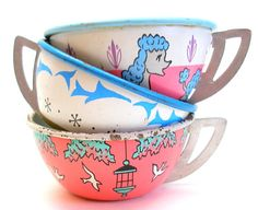 Tin Toy Tea Cups & Saucers Poodle and Birds in by OldeTymeNotions, $34.00