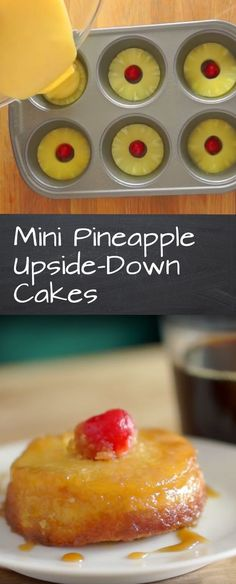 Pineapple Upside-Down Cakes Pineapple Upside Down Cake - Great dessert for a crowd. This would be a fun dessert to make with my kids!Pineapple Upside Down Cake - Great dessert for a crowd. This would be a fun dessert to make with my kids! Desserts For A Crowd, Desserts To Make, Great Desserts, Mini Desserts, Delicious Desserts, Yummy Food, Mini Cake Recipes, Tropical Desserts, Spring Desserts