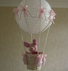 Piglet in Hot Air Balloon light-lamp shade for baby girl nursery Balloon Lights, Air Balloon, Balloons, Balloon Ideas, Baby Nursery Themes, Girl Nursery, Teen Decor, Diy Baby Gifts, Baby Mine