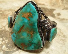 "NATURAL BLUE GEM; Turquoise Cuff Old Pawn c.1940's""Rare Blue Gem Mine Nevada;Gem Grade Navajo Cuff Bracelet; Huge Stones 2 3/8"" L x 1 3/4"" W"