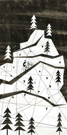 Black & white mountain with biker illustration by Josie Portillo
