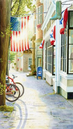 Old Town USA Street - Fine Art Giclee Print by Mary Irwin Fine Art ~ on Etsy