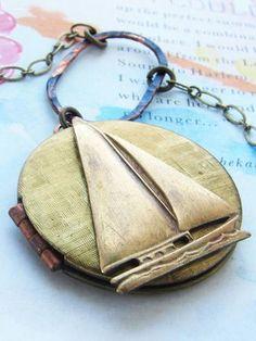 Nautical Sailboat Locket Necklace