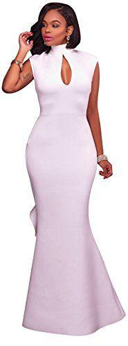 New Kearia Women Formal Gown Mock Neck Sleeveless Key Hole Evening Prom Mermaid Long Dress online. Perfect on the PrettyGuide Dresses from top store. Sku bjsk54804cohn95948