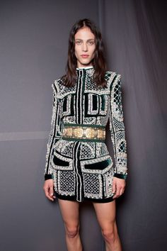 Embroidered, embellished, ornamented long sleeve mini dress. Balmain, Ready-to-Wear Fall 2012. Photo: ImaxTree