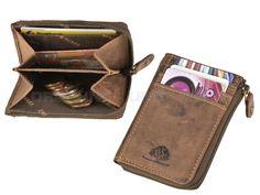 Greenburry VINTAGE - Leder Karten-Reißverschluss-Münzbörse Geldbörse XS Portemonnaie - antikbraun 1685-25