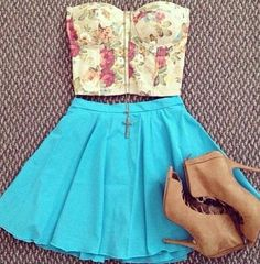 Crop top and skirt.