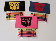 Transformers Party Favors For Goody bags.super easy to make! Transformers Birthday Parties, 4th Birthday Parties, Birthday Fun, Birthday Ideas, Rescue Bots Birthday, Gingerbread House Parties, Transformer Birthday, Party Favors, Party Time