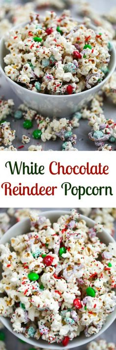 An easy popcorn mix that comes together in 5 minutes! White Chocolate Reindeer P… An easy popcorn mix that comes together in 5 minutes! White Chocolate Reindeer Popcorn is perfect for Christmas or to make all year round. Christmas Sweets, Christmas Cooking, Christmas Goodies, Cozy Christmas, Christmas Popcorn, Christmas Music, Christmas Bedroom, Christmas Deserts Easy, Easy Christmas Cookies