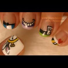 Really adorable cartoon Alice In wonderland inspired nails