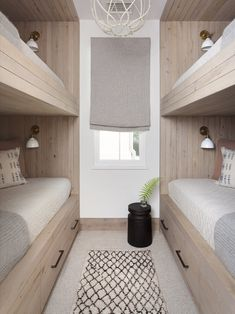 Why are built in bunks SO fun to design? I guess because the idea of nestling into a little nook at night, and designing all the ways to maxamize cozy, is SO FUN! This one designed by is a real fan fave! All about that bunk life // design via // Bunk Bed Rooms, Bunk Beds Built In, Bunk Beds With Storage, Modern Bunk Beds, Bunk Beds With Stairs, Kids Bunk Beds, Bunkbeds For Small Room, Bunk Beds For Adults, Corner Bunk Beds