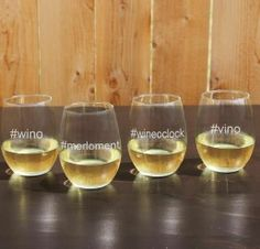 Look at how cute these Hashtags wine glasses are.