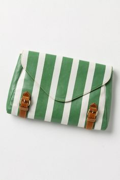 Green + White Striped Bag by @Anthropologie