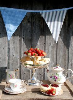 Vintage tea with scones and jam