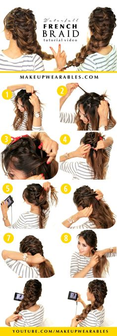 Cute spring hairstyles| Waterfall French Braid Hair Tutorial