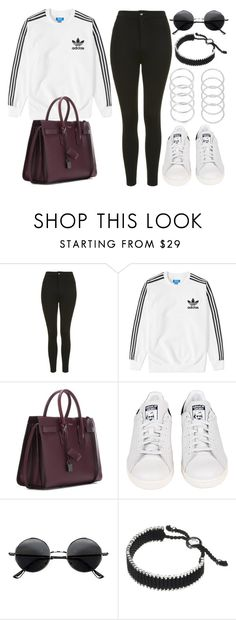 """Style #11098"" by vany-alvarado ❤ liked on Polyvore featuring Topshop, adidas, Yves Saint Laurent, Retrò and Links of London"