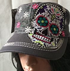 Savana Women's Distressed Cotton Adjustable Embroidered Cadet Cap w/ Sugar Skull Appliqué SS-P, SS-G, SS-T, SS-BL
