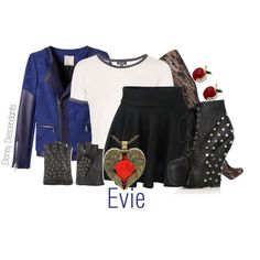 A fashion look from July 2015 featuring Topshop t-shirts, Rebecca Taylor jackets and Jonathan Aston tights. Browse and shop related looks. Movie Inspired Outfits, Disney Inspired Fashion, Decendents Costumes, Halloween Costumes, Disney Outfits, Cute Outfits, Casual Outfits, Snow White Outfits, Evie Costume