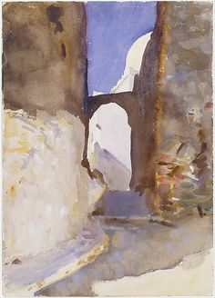 Street, Tangier | Artist: John Singer Sargent (American, Florence 1856–1925 London) Date: 1895 Medium: Watercolor, gouache, and graphite on off-white wove paper Dimensions: 13 15/16 x 9 15/16 in. (35.4 x 25.2 cm) Classification: Drawings Credit Line: Gift of Mrs. Francis Ormond, 1950 Accession Number: 50.130.41