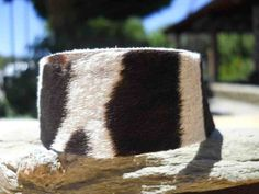 Handmade zebra hide armband with antiqued brass or silver metal snap, $16.00