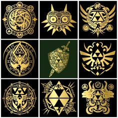 Love these Legend of Zelda designs/symbols - inserts - Tattoo-Ideen The Legend Of Zelda, Legend Of Zelda Tattoos, Link Zelda, Zelda Skyward, Skyward Sword, Pokemon Zelda, Image Zelda, Video Game Art, Video Games