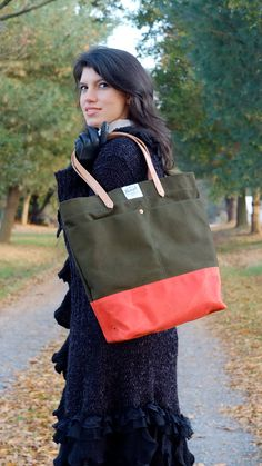Hey, I found this really awesome Etsy listing at https://www.etsy.com/listing/169463679/waxed-canvas-tote-bag-with-leather