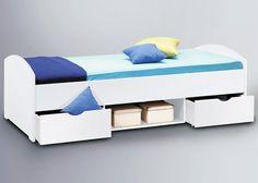 Jumbo-Möbel Bett NEMO in Weiß Design mit Bettkästen auf Rollen, 90 x 200 folierte Spanplatte