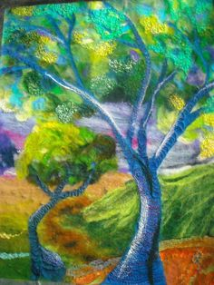 felt art wet felted felt picture abstract tree by SueForeyfibreart