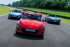 A good looking line up...The All-new Mazda MX-5 takes on a few laps of the Goodwood circuit. #MX5 #FOS