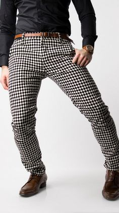 Designers ultra soft spandex stretch, black and white diamond pants for men by Glimms. | www.differio.com