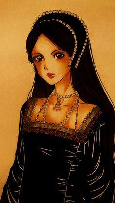 Queen Anne by nana-tama, Anne Boleyn, wife of King Henry VIII of England. King Henry's Wives, Anne Boleyn Death, Tudor Rose Tattoos, Historical Women, Historical Photos, Strange History, History Facts, Tudor Dynasty, King Henry Viii