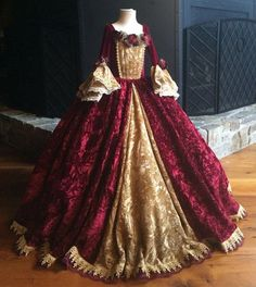 CHRISTMAS DELIVERY - Christmas Belle Princess Gown Costume in Wine and Gold
