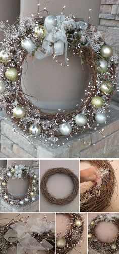 DIY Winter Wonderland Wreath for Christmas. Try dressing up your entryway or fro… DIY Winter Wonderland Wreath for Christmas. Try dressing up your entryway or front yard with this DIY awesome and elegant winter wreath in silver and gold! Christmas Projects, Holiday Crafts, Noel Christmas, Christmas Ornaments, Diy Christmas Decorations, Christmas 2017, Christmas Ideas For Gifts Diy, Winter Wonderland Decorations, Ornaments Ideas