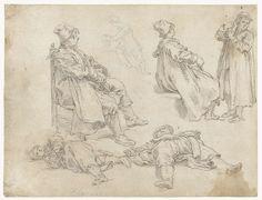 Abraham Bloemaert | Vijf jongens, Abraham Bloemaert, 1625 - 1629 | Twee zittende jongens, en profil, in identieke poses, twee liggende jongens en één staande.