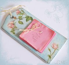 Wooden #decoupage roses notes holder.