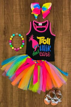 "This trolls outfit is absolutely stunning! She'll be the star of the show in this ""Troll Hair Don't Care"" tank top and matching rainbow tutu skirt. Trolls Birthday Party, Troll Party, 6th Birthday Parties, Third Birthday, Birthday Ideas, Costume Troll, Costumes, Bolo Neon, Pjmask Party"